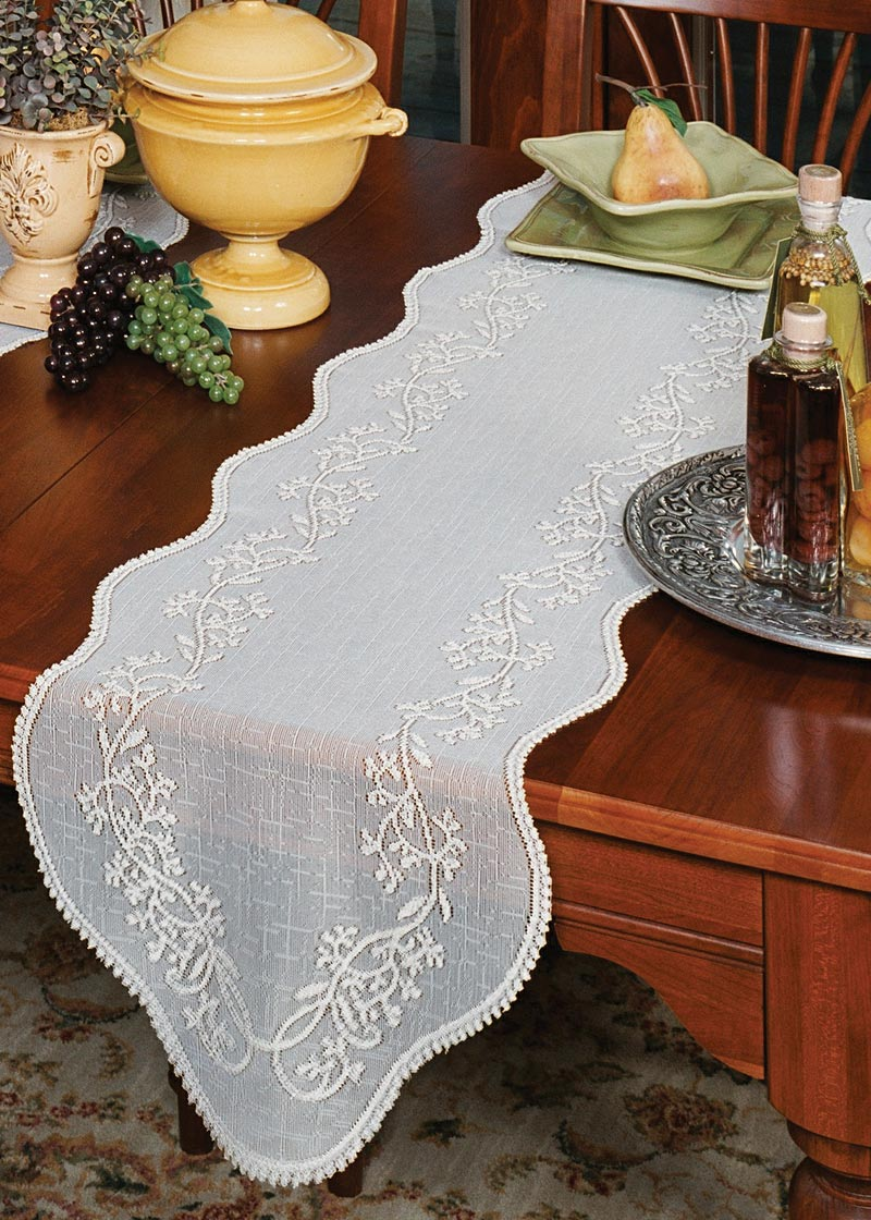 Table Linen-Runner-Dresser Scarf-Set of 2-Sheer Divine-Heritage Lace