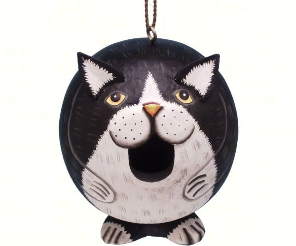 Birdhouse-Black and White Cat-Gord-O-Nature Lover