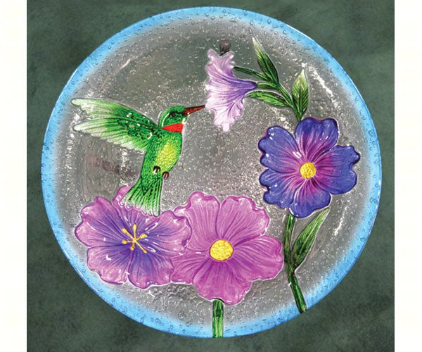 Birdbath-Glass-20 inch-Hummingbird-Nature Lover