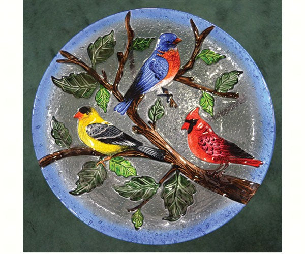 Birdbath-Glass-20 inch-Songbird Trio- Nature Lover