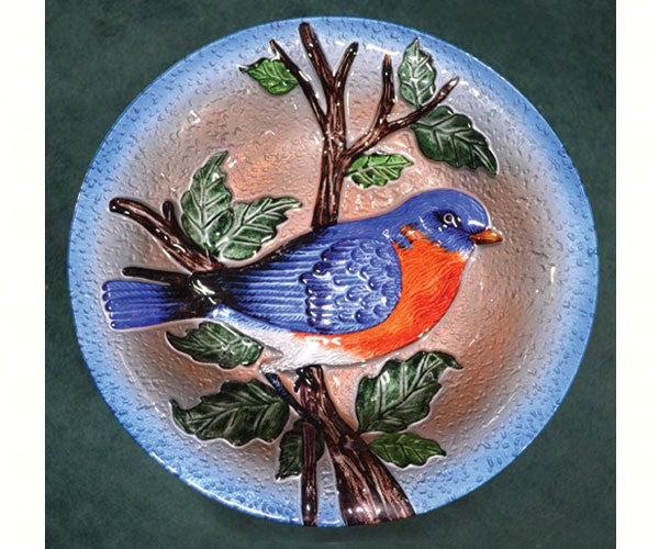 Birdbath-Glass-20 inch-Bluebird-Nature Lover