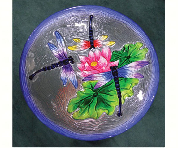 Birdbath-Glass-20 inch-Dragonfly Trio-Loving Nature