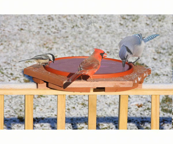 Birdbath-Fresh Water-Winter-Cedar-Deck Railing-19x19x3.25