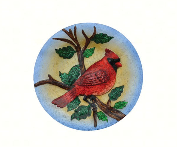 Birdbath-Glass-20 inch-Majestic Cardinal- Nature Lover
