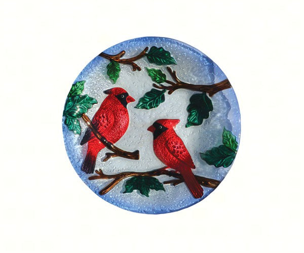 Birdbath-Glass-20 inch-Perching Cardinals-Nature Lover