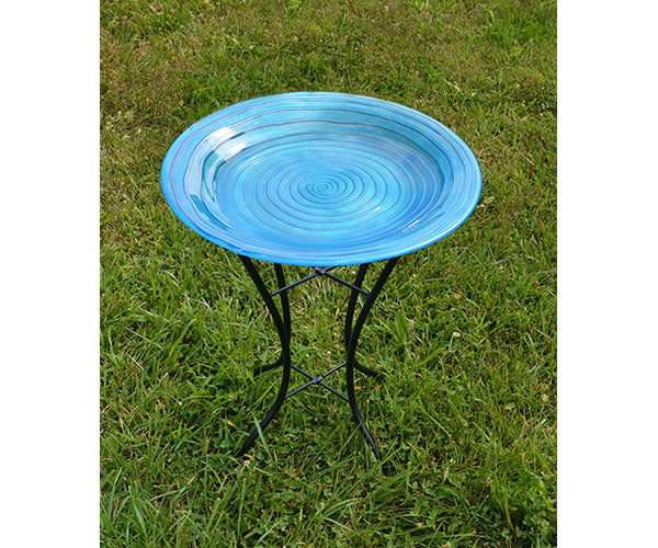 Birdbath-Glass-Choice-Standing-Staked-Hanging-Blue Swirls
