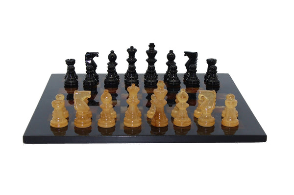 Chess Set-Basic Black-Brown-Alabaster-Stone