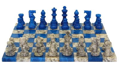 Chess Set-Blue-Grey-Basic Alabaster
