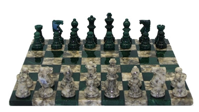 Chess Set-Basic Green-Grey-Alabaster