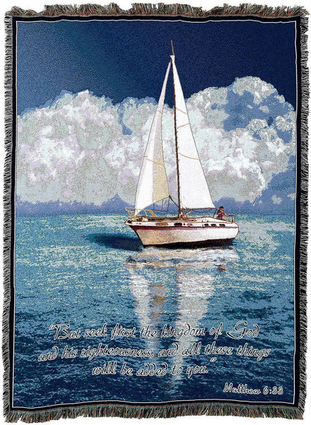 Christian Decor-Throw Blanket-54 x72-Nautical-Sailboat Scripture
