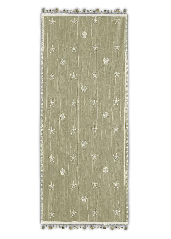 Table Linen-Runner-Dresser Scarf-Beach Life-Coastal-Sand Shell-Heritage Lace