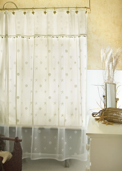 Shower Curtain Set-Heritage Lace-Sand Shell