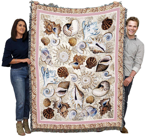 Throw Blanket-Woven Tapestry-Coastal-Seashells