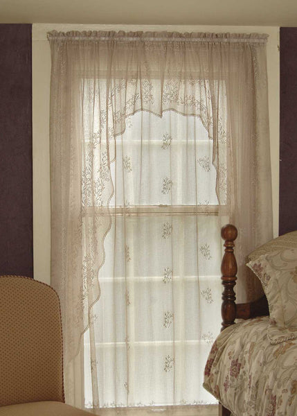 Curtain-Swag-Pair-Choice-Size-Color-Heritage Lace-Sheer Divine