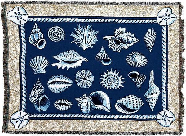 Throw Blanket-Woven Tapestry-Coastal-Shell Collection