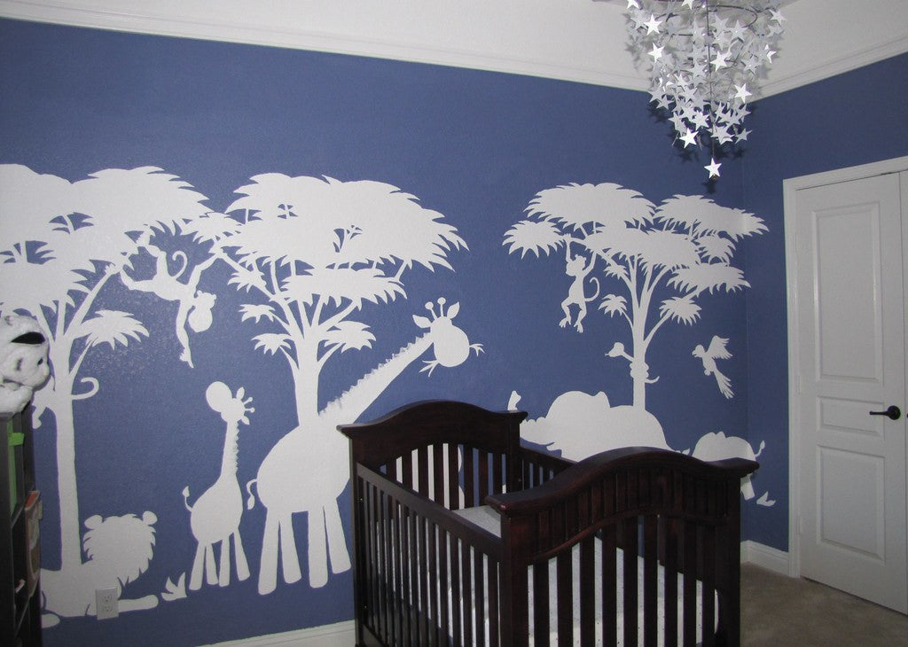 Silhouette Safari, a DIY Paint by Number Wall Mural by Elephants on the Wall - Seasonal Expressions - 1