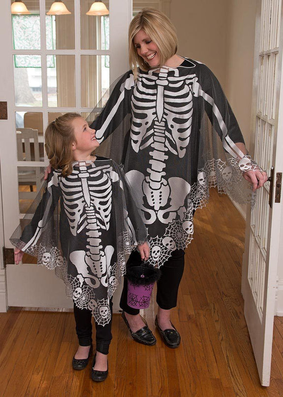 "Halloween-Seasonal-Clothing-Skeleton-60"" x 60"" OR 45"" x 45"" Poncho"