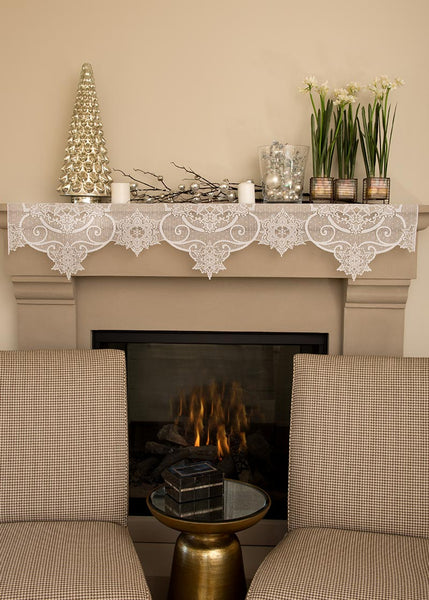 4-Way-Mantle Scarf-Valance-Door Swag-Lampshade Topper-Heritage Lace-Snowflake