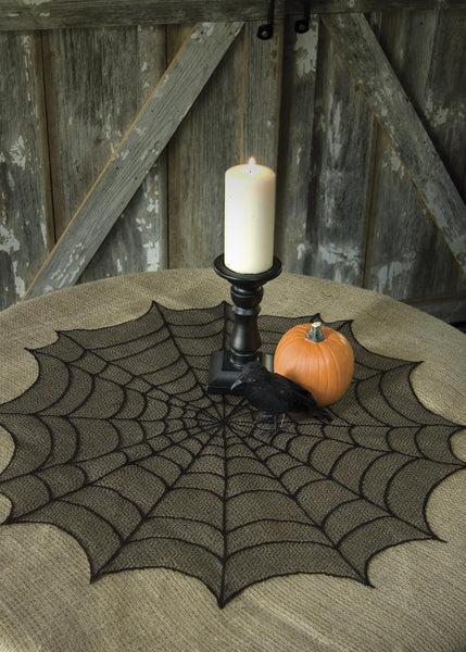 "Halloween-Table Topper-Tablecloth-Seasonal Decor-Halloween-30"" Round-Spider Web"