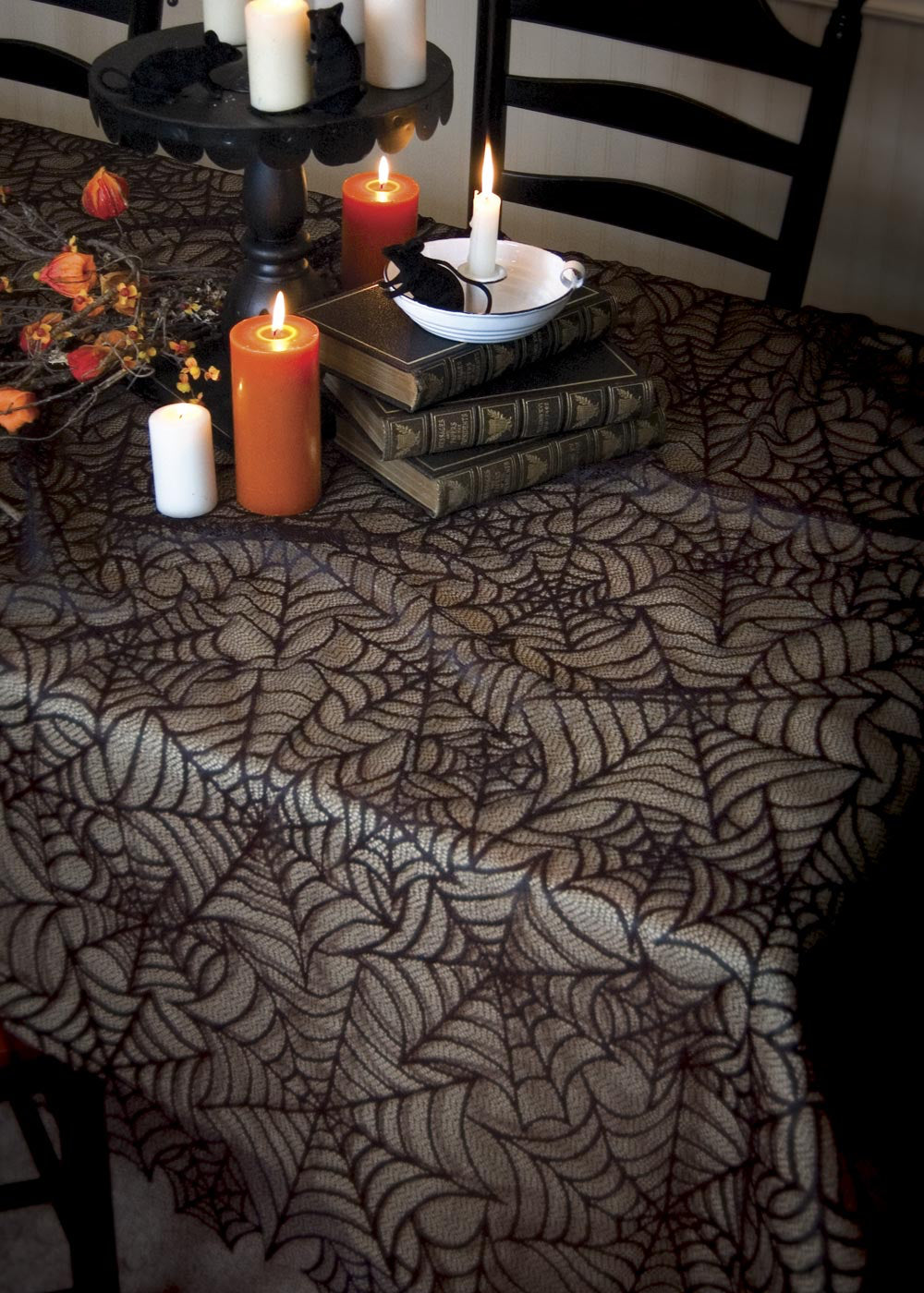 Halloween-Tablecloth-Seasonal Decor-Spider Web