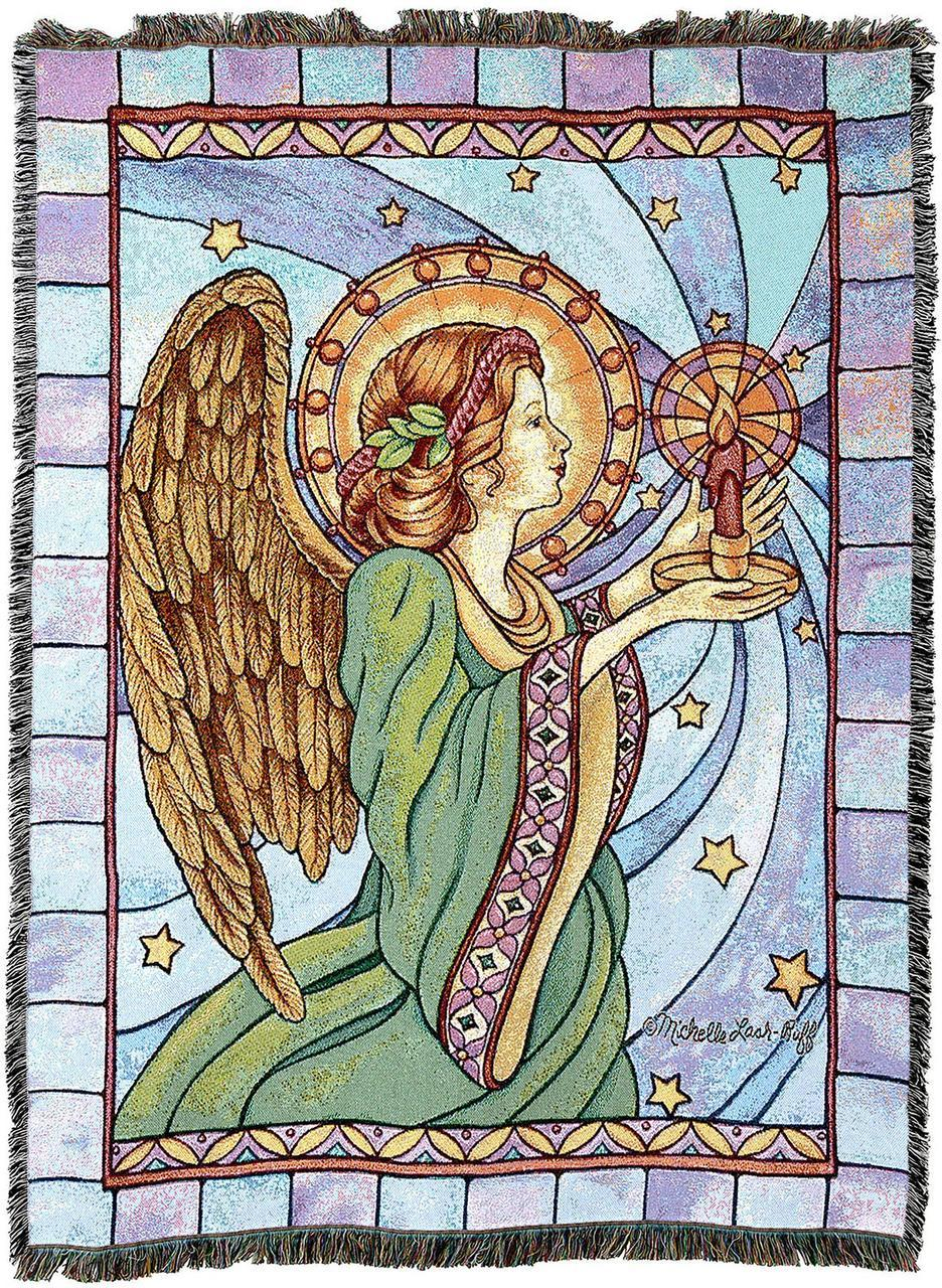Throw Blanket-54 x 72-Christian-Stained Glass-Guardian Angel