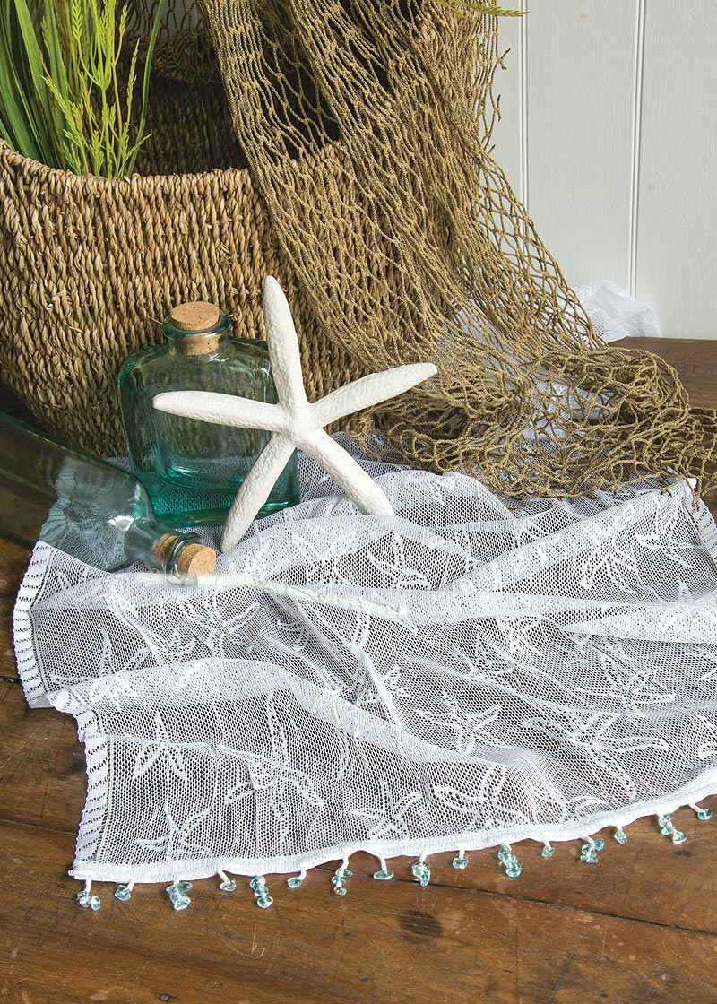 Table Linen-Runner-Dresser Scarf-Beach Life-Coastal-Starfish-Heritage Lace