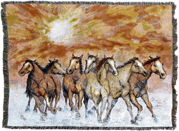 Throw Blanket-54 x 72-Animal Lover-Sunset Run-Horses