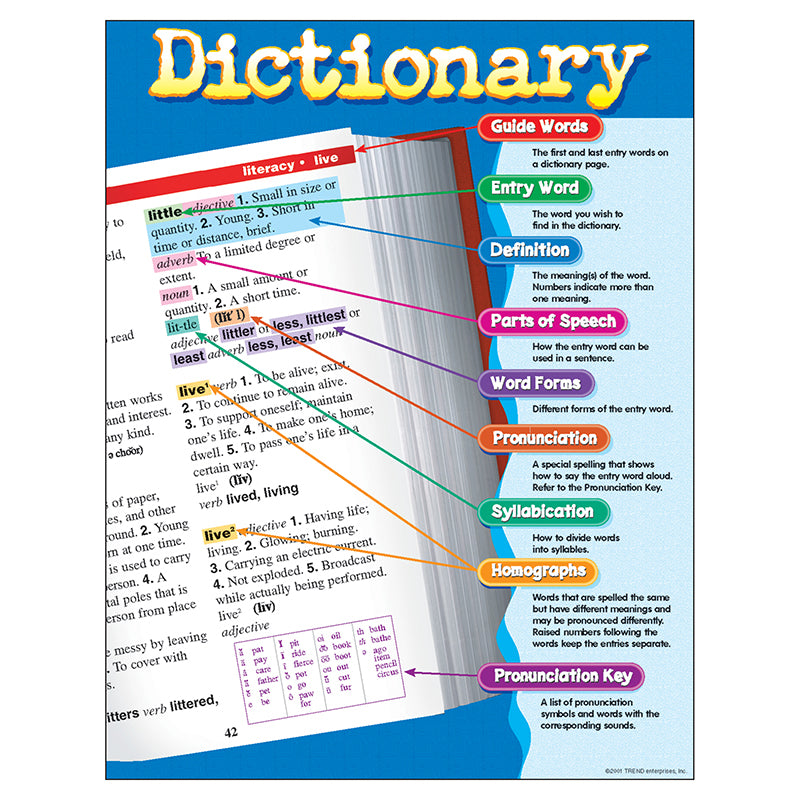 Bulletin Board Chart-Educational-Language Arts-Dictionary