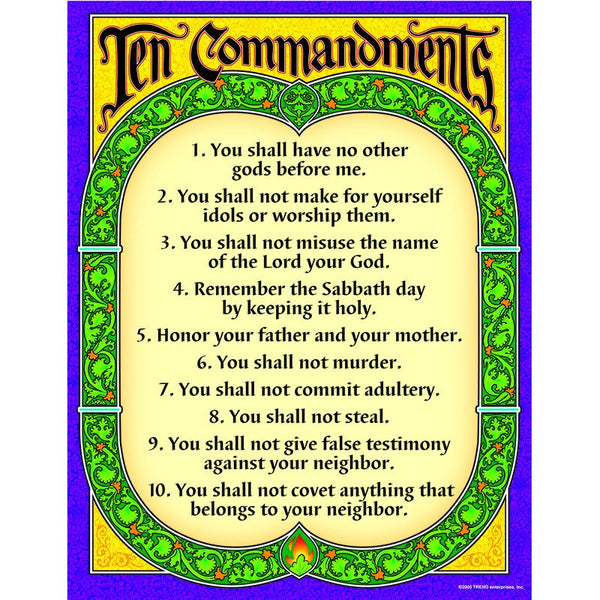 Christian Chart-The Ten Commandments-Bulletin Board Set