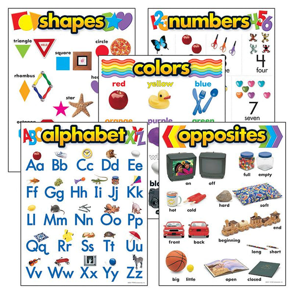 Educational-Early Learning-Basic Skills-Alphabet-Shapes-Numbers-Colors-Opposites-Bulletin Board Charts