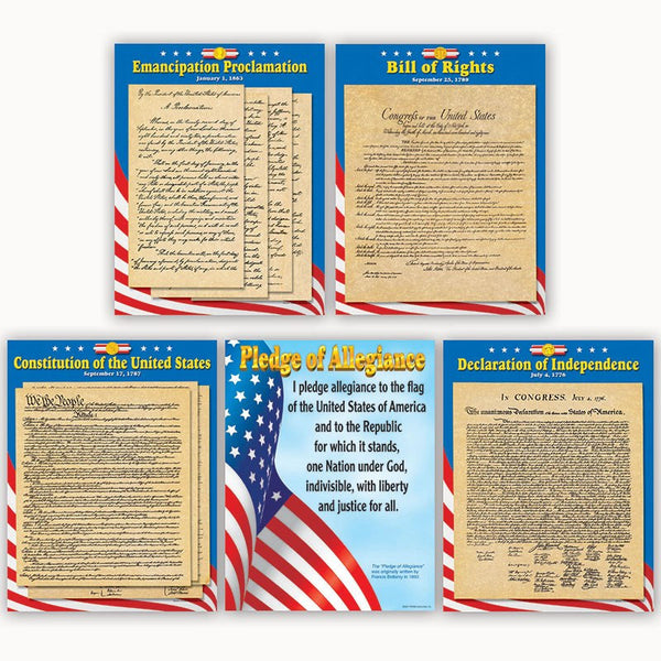 U.S. Documents-Bulletin Board-Educational Charts-Combo Pack