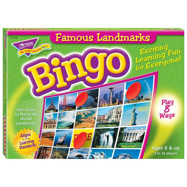 Geography Games-Bingo-Famous Landmarks-Ages 8+