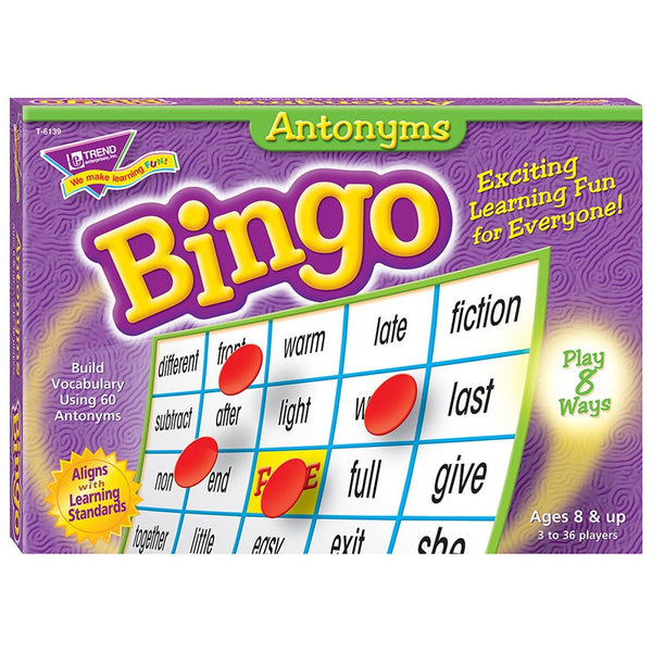 Educational Game-Grammar-Bingo-Antonyms-Ages 8+