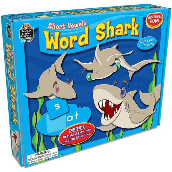 Language Arts Fun-Educational Game-Word Shark Short Vowel Game-Ages 6 Plus