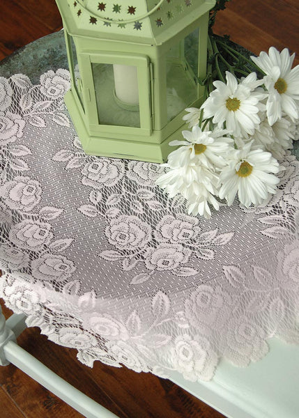 Table Linen-Placemats-Set of 4-14 x 20-Heritage Lace-Tea Rose