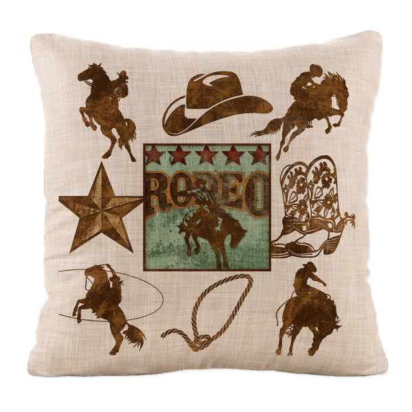 Throw Pillow-18x18-Heritage Lace-Tack Room-Cowboy