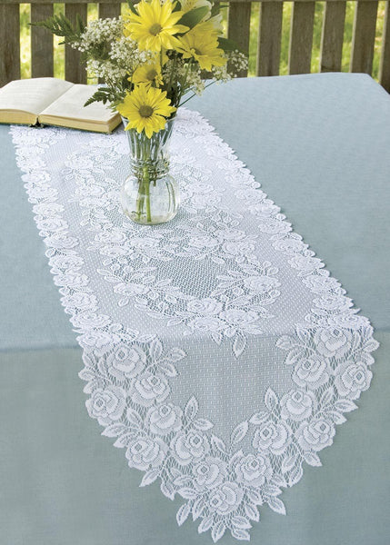 Table Linen-Runner-Dresser Scarf-Set of 2-Heritage Lace-Tea Rose