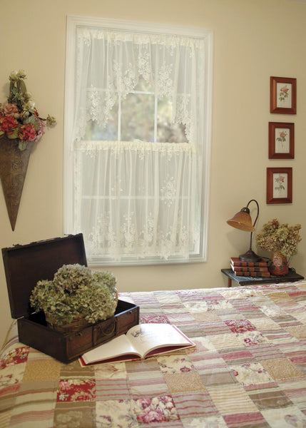 Curtains-Swag-Pair-60 x 30-Choice-Color-Heritage Lace-Tea Rose