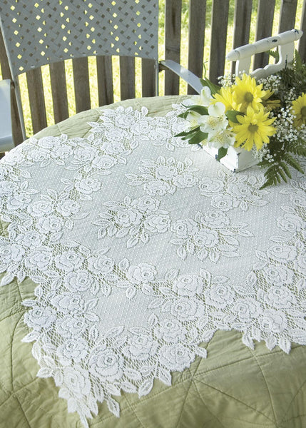 Table Linen-Table Topper-30x30-Tea Rose-Heritage Lace