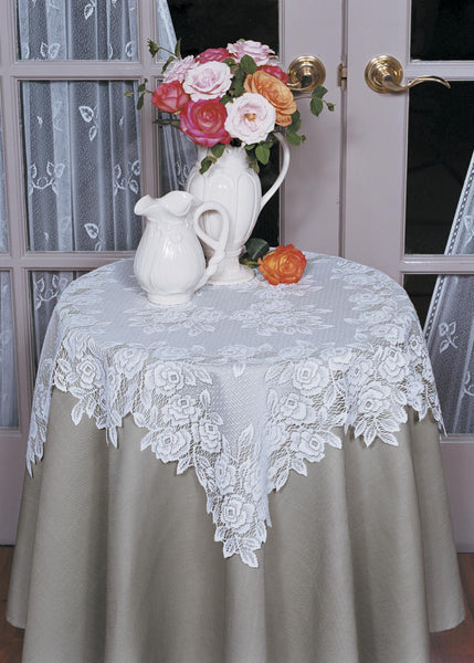 Table Linen-Table Topper-30x30-Ecru-Heritage Lace-Tea Rose