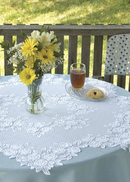 Table Linen-42 inch-Round-Table Topper-Heritage Lace-Tea Rose