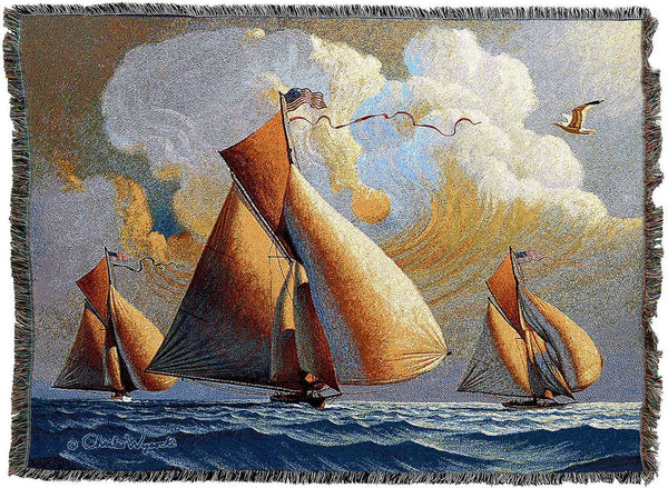 Throw Blanket-Woven Tapestry-Coastal-Searam Sailboats