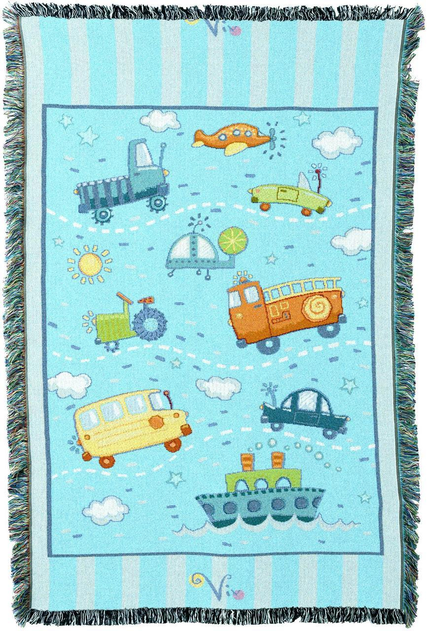 Throw Blanket-Woven-Babies-Children-Transportation Toys