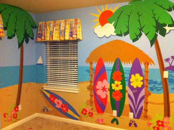 Trio of Surfboards, a DIY Paint by Number Wall Mural by Elephants on the Wall - Expressions of Home