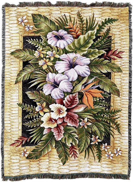 Throw Blanket-54 x 72-Tropical Flowers