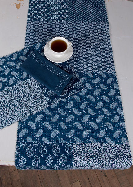 Table Linen-Runner-Dresser Scarf-Set of 2-Heritage Lace-True Blue