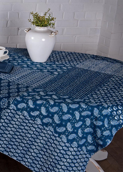 Table Linen-Table Topper-60x60-Heritage Lace-True Blue
