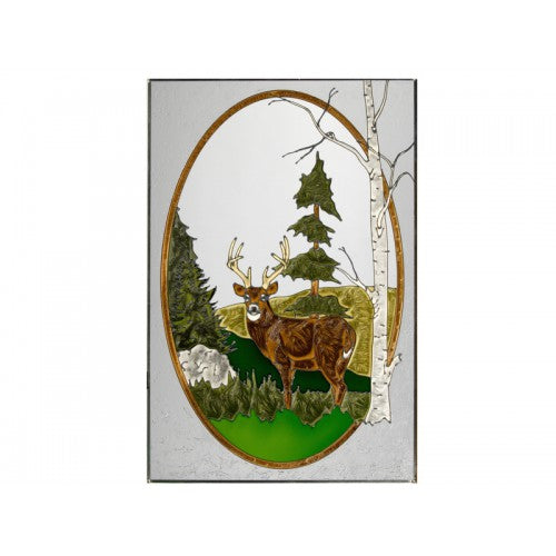 Art Glass Panel-The Rustic Look-Deer-Made in USA