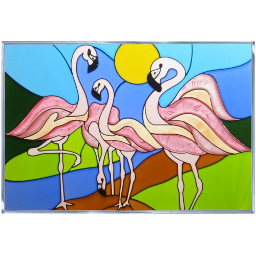 Art Glass Panel-Beach Life-Flamingos-Made in USA