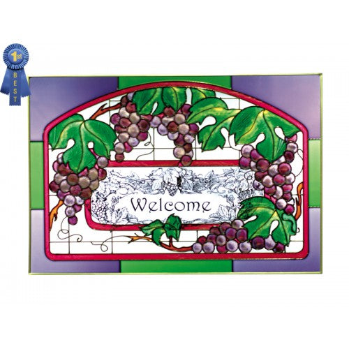 Art Glass Panel-Welcome-Grapevine-Silver Creek